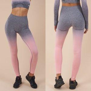 Gymshark Ombre Pink Peach/ Grey seamless leggings
